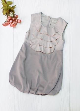 Платье сарафан жабо Бежевый