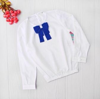 Блуза длинный рукав Бант Белый