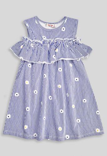 Платье Тонкая полоска, цветочки Синий