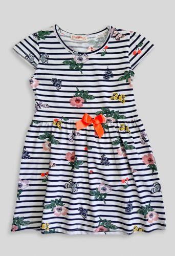 Платье Полоса цветы, бант оранжевый Синий