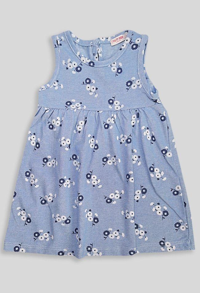 Платье Цветочки Деним светлый