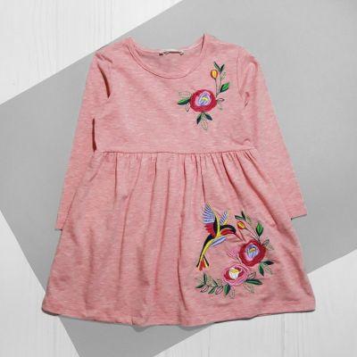 Платье Птичка в цветах Пудра