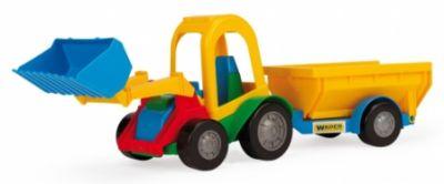 Трактор багги с ковшом и прицепом