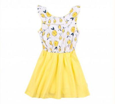 Платье Рисунок Желтый