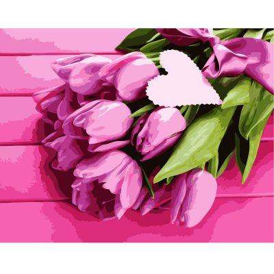 Набор для росписи по номерам Розовые тюльпаны