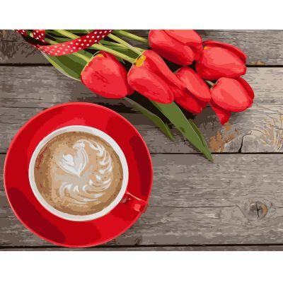 Набор для росписи по номерам Кофе с тюльпанами