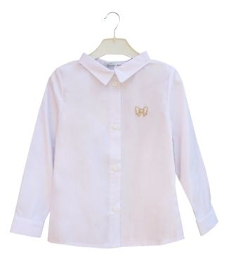 Блуза длинный рукав Бантик Белый
