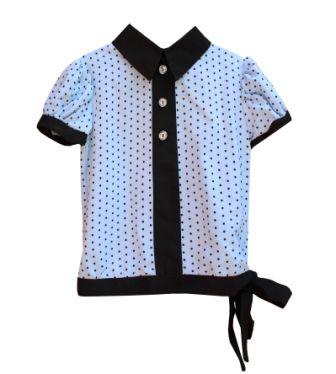 Блуза короткий рукав горошек Голубой