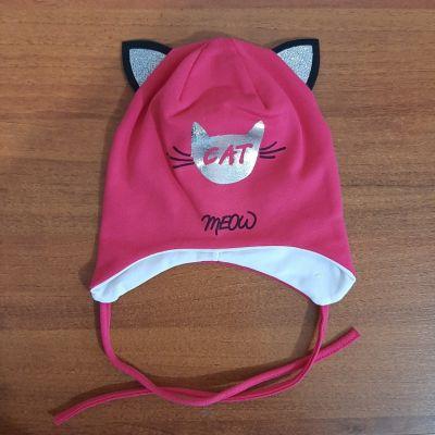 Шапка трикотажная на завязках Cat meow Микс