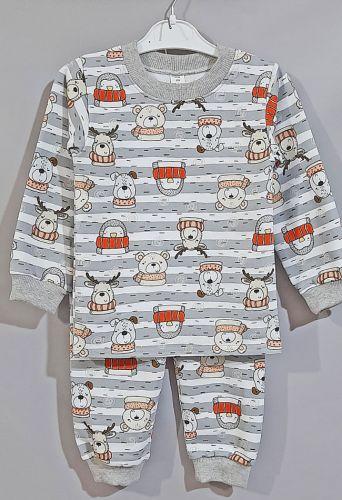 Пижама трикотажная с начесом  Серый