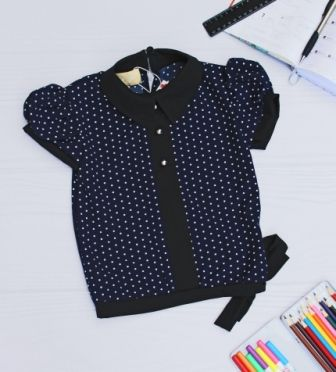 Блуза короткий рукав горошек Синий темный