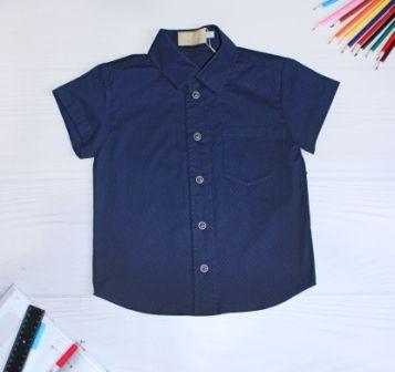 Рубашка короткий рукав Клетка Синий
