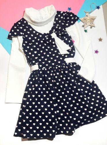 Платье Сердечки трикотаж Синий