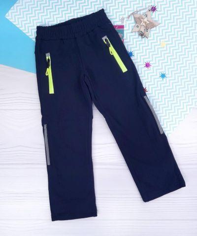 Спортивные брюки яркие молнии, начес Синий темный