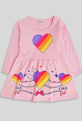 Платье длинный рукав Светло-розовый