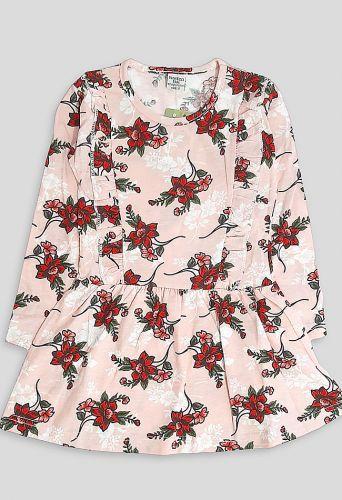 Платье длинный рукав Пудра