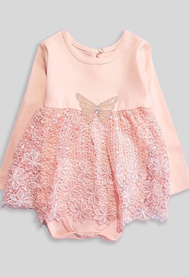Боди платье Бабочка Пудра