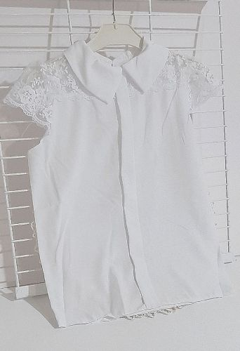 Блуза короткий рукав кружево Белый