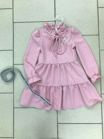 Платье Креп Рюши Светло-розовый