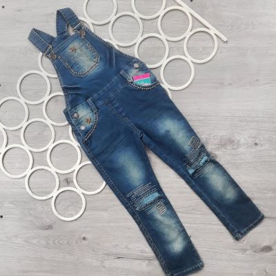 Комбез джинсовый Бусинки Синий