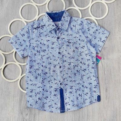 Рубашка короткий рукав Мелкая клетка Голубой