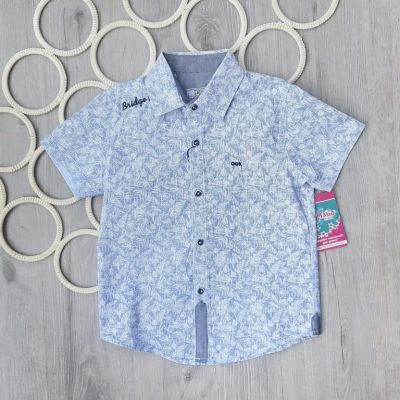 Рубашка короткий рукав Мелкая клетка Серый светлый