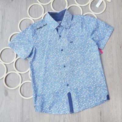 Рубашка короткий рукав Мелкая клетка Синий