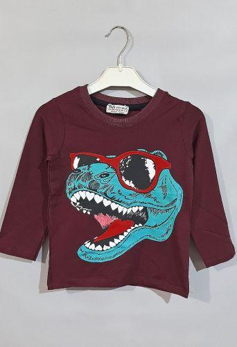 Джемпер Динозавр в очках Бордовый