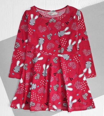 Платье Зайцы Малиновый