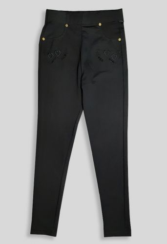 Брюки Трикотаж вышивка Черный