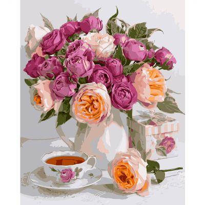 Набор для росписи по номерам Букет роз и чашка чая