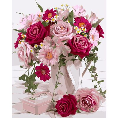 Набор для росписи по номерам Букет цветов в розовых тонах