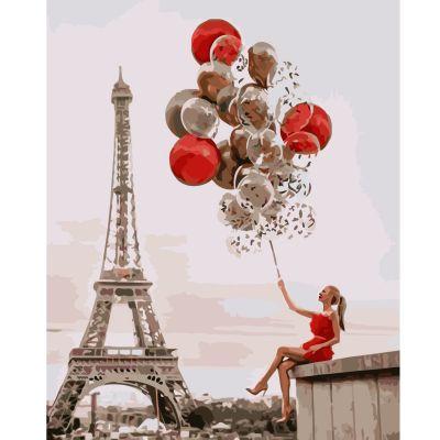Набор для росписи по номерам Девушка с шариками