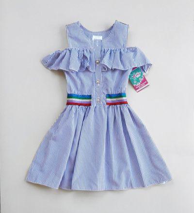 Платье Блестящая резинка, полоса Голубой