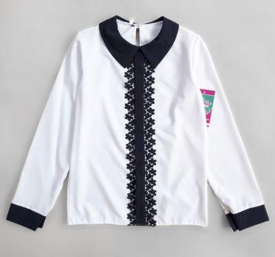 Блуза длинный рукав кружево Белый