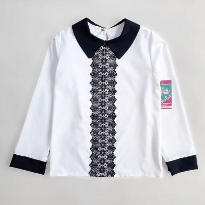 Блуза синняя кружевная планка Белый