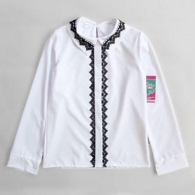 Блуза белая планка - синее кружево Белый