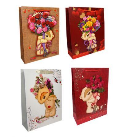 Пакет картон Мишка с букетами