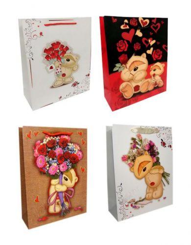 Пакет картон Мишка с цветами
