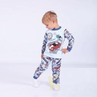 Пижама трикотажная с начесом Авто Голубой