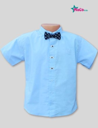 Сорочка короткий рукав вышивка, бабочка Голубой