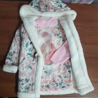 Комплект пальто свитер Цветы Бежевый