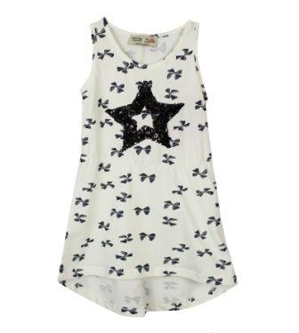 Платье сарафан Звезда, бантики Молочный