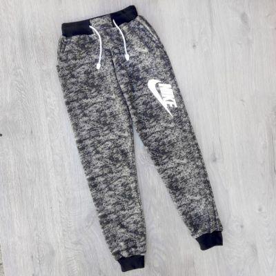 Спортивные брюки меланж, манжет 6 - 10 лет Черный