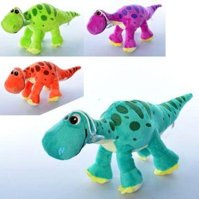 Мягкая игрушка динозавр, присоска, 4 цвета, 35см