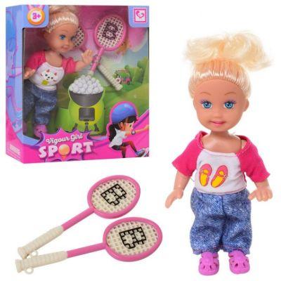 Кукла маленькая 2 вида, с теннисной ракеткой в кор 12,5*4,5*15 см