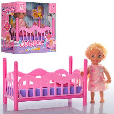 Кукла маленькая с кроваткой в кор 15*8,5*15 см