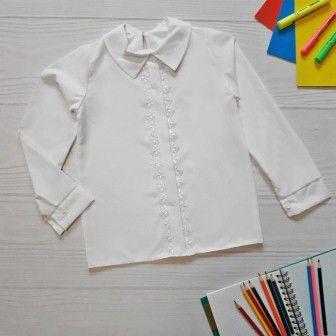 Блуза длинный рукав Планка ажур Белый