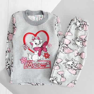 Пижама трикотажная с начесом Meow Серый