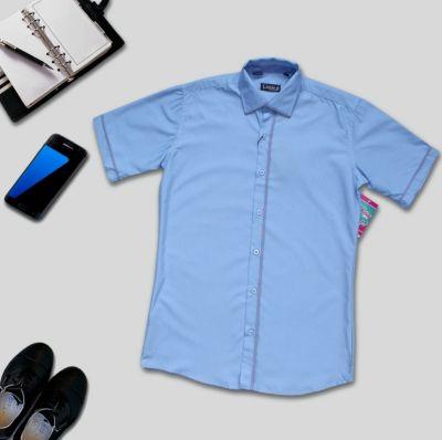 Сорочка короткий рукав Классик Голубой